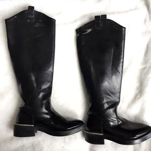 Zara Tall Riding Black Boots with Chain 38/ 7.5